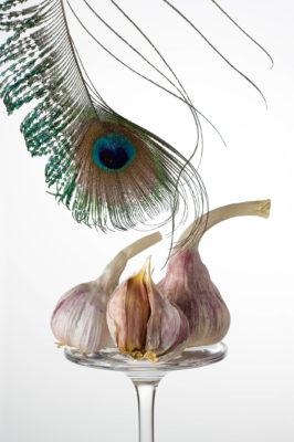 Garlic on a reversed glass